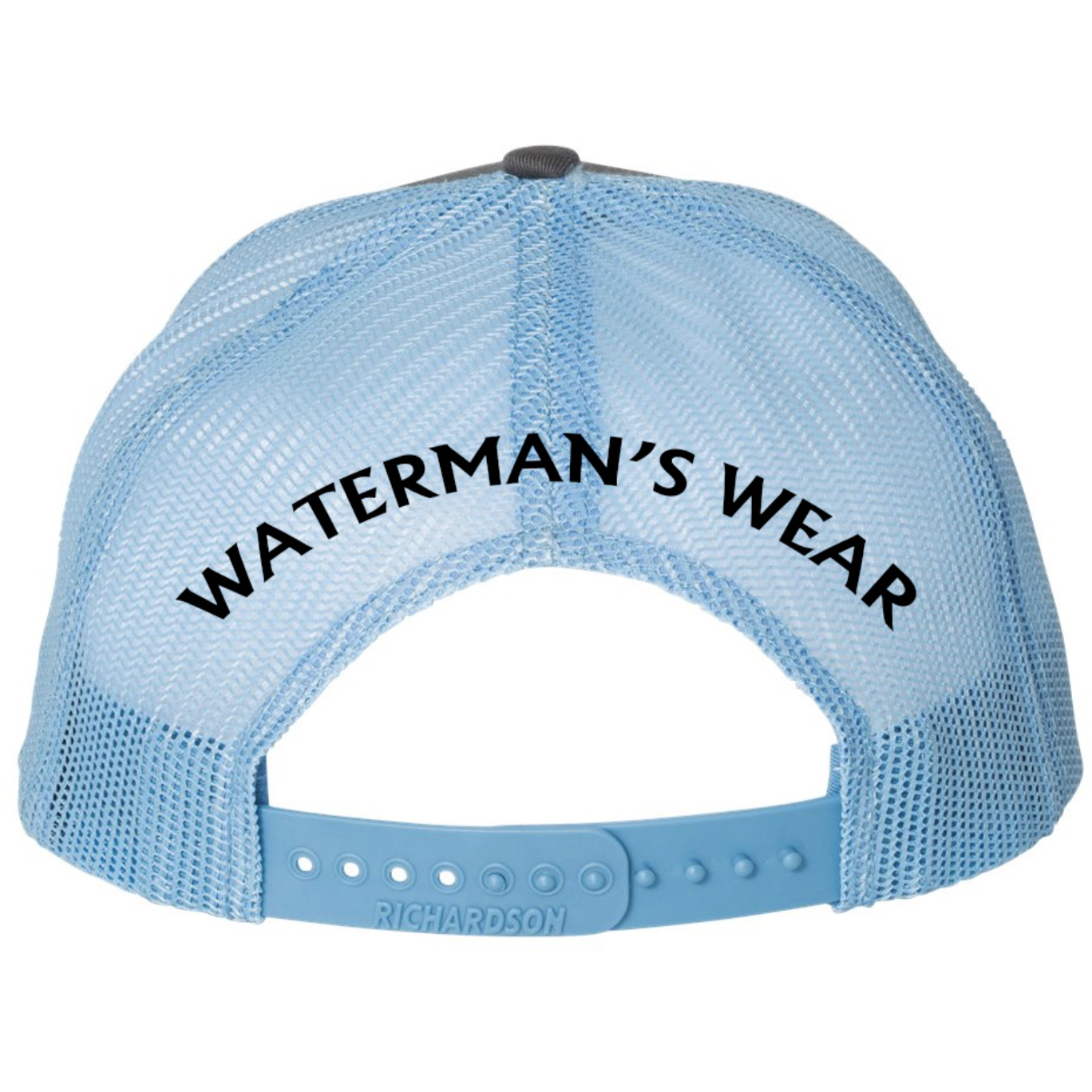 Waterman's Wear Trident Logo Dual Color Adjustable Trucker Hat - Charcoal/Columbia Blue