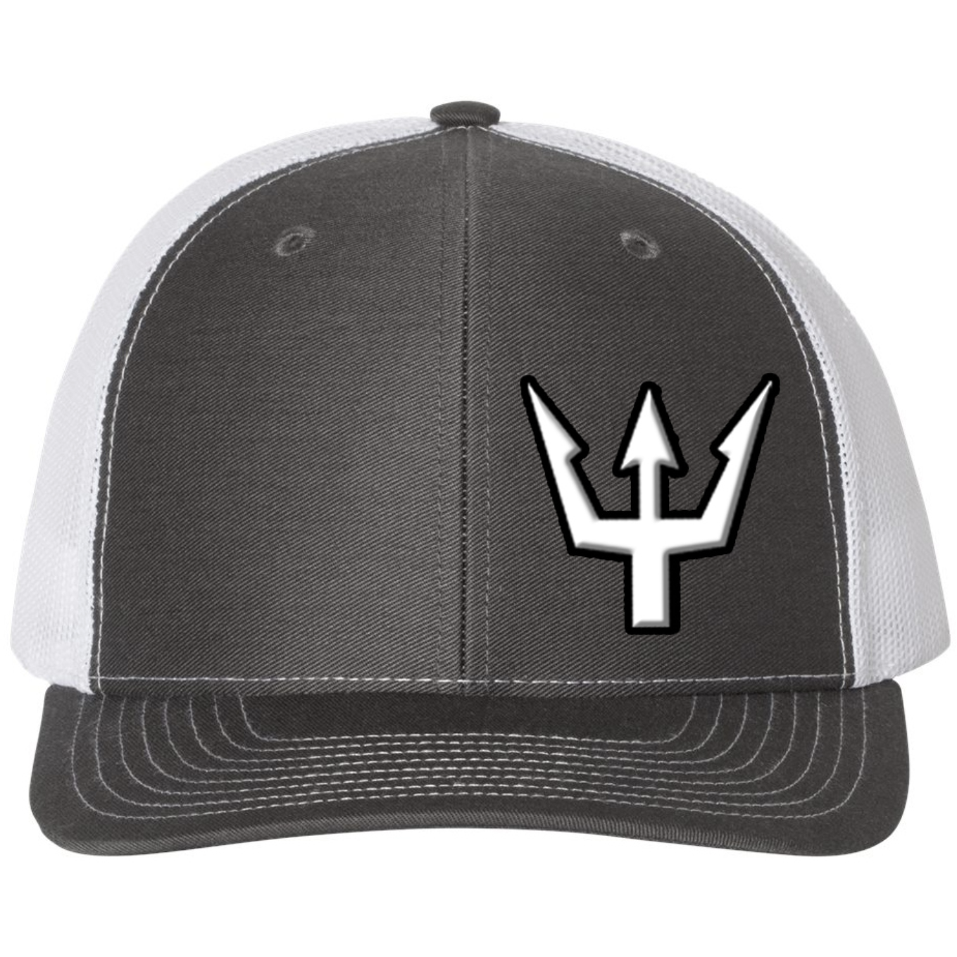 Waterman's Wear Trident Logo Dual Color Adjustable Trucker Hat - Charcoal with White