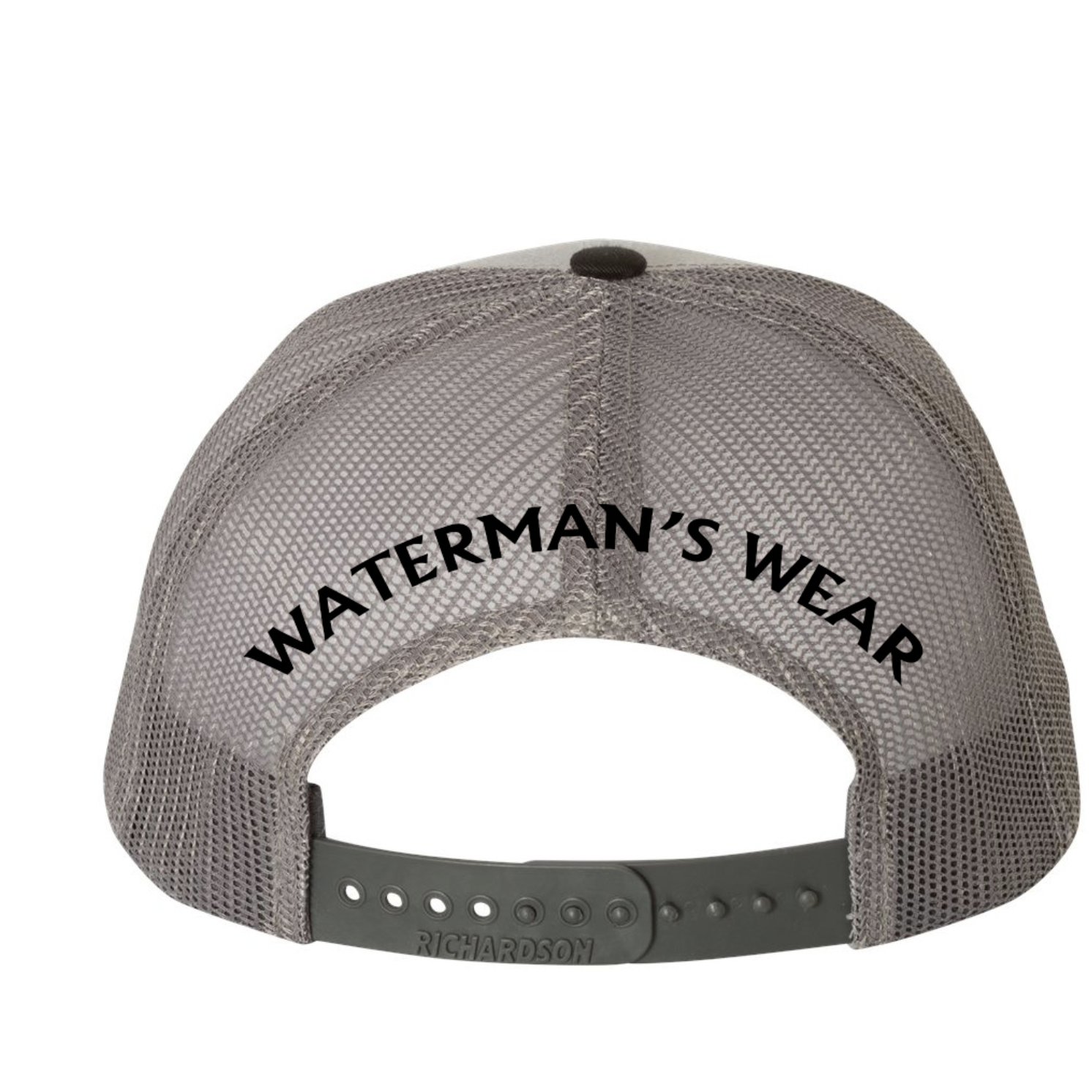 Waterman's Wear Trident Logo Dual Color Adjustable Trucker Hat - Grey/Black