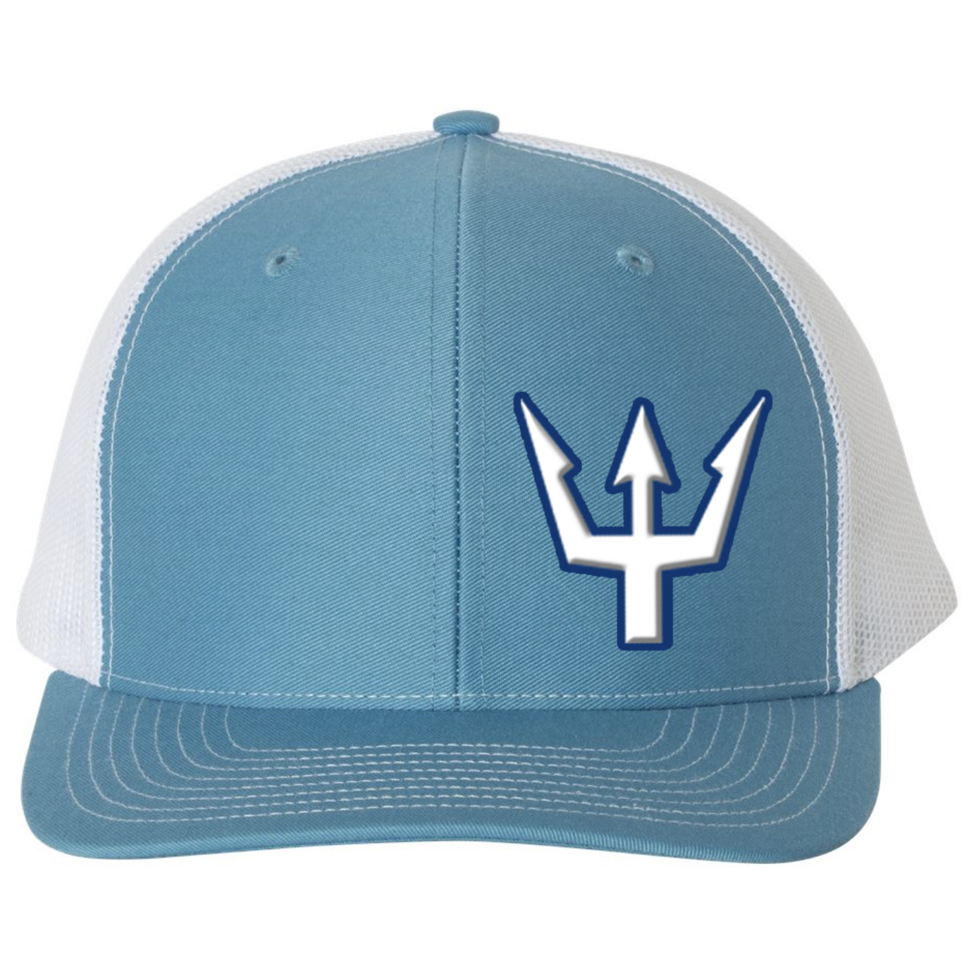 Waterman's Wear Trident Logo Dual Color Adjustable Trucker Hat - Light Blue/White