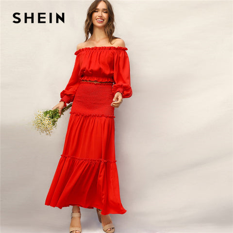 cdb3cc8388 SHEIN Boho Red Frill Off Shoulder Smocked Cuff Crop Top and Shirred Panel  Frill Trim Maxi Skirt Set Women Summer Two Piece Set