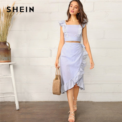 c63ee9e44c SHEIN Boho Blue Striped Ruffle Trim Shirred Crop Cami Top and Wrap Knotted  Skirt Set Women Summer 2019 Beach Style Two Piece Set