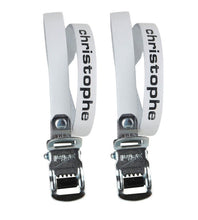 Load image into Gallery viewer, Zefal Christophe 516 Leather - Road / Track Bike Toe Straps - White