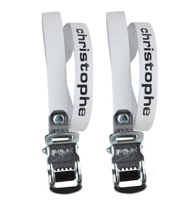 Zefal Christophe 516 Leather - Road / Track Bike Toe Straps - White