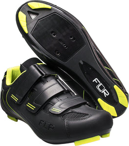 FLR F-35.III - Road Bike Cycling Shoes - Shimano & Look Compatible - Matt Black / Neon Trim
