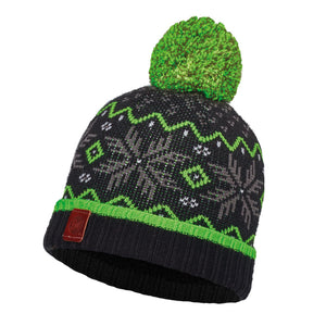 Buff - Nester - Slim / Junior - Knitted & Polar Hat - Black / Grey Vigore