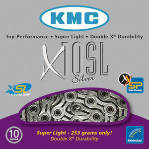 KMC X10SL Silver 10 Speed Chain For Shimano / Campagnolo