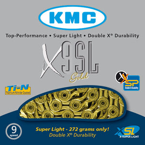 KMC X9-SL Gold 9 speed MTB / Road Bike Chain X9SL