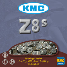 "Load image into Gallery viewer, KMC Z8S - 8 Speed Road Bike Chain 1/2"" x 3/32"" - Silver / Grey"