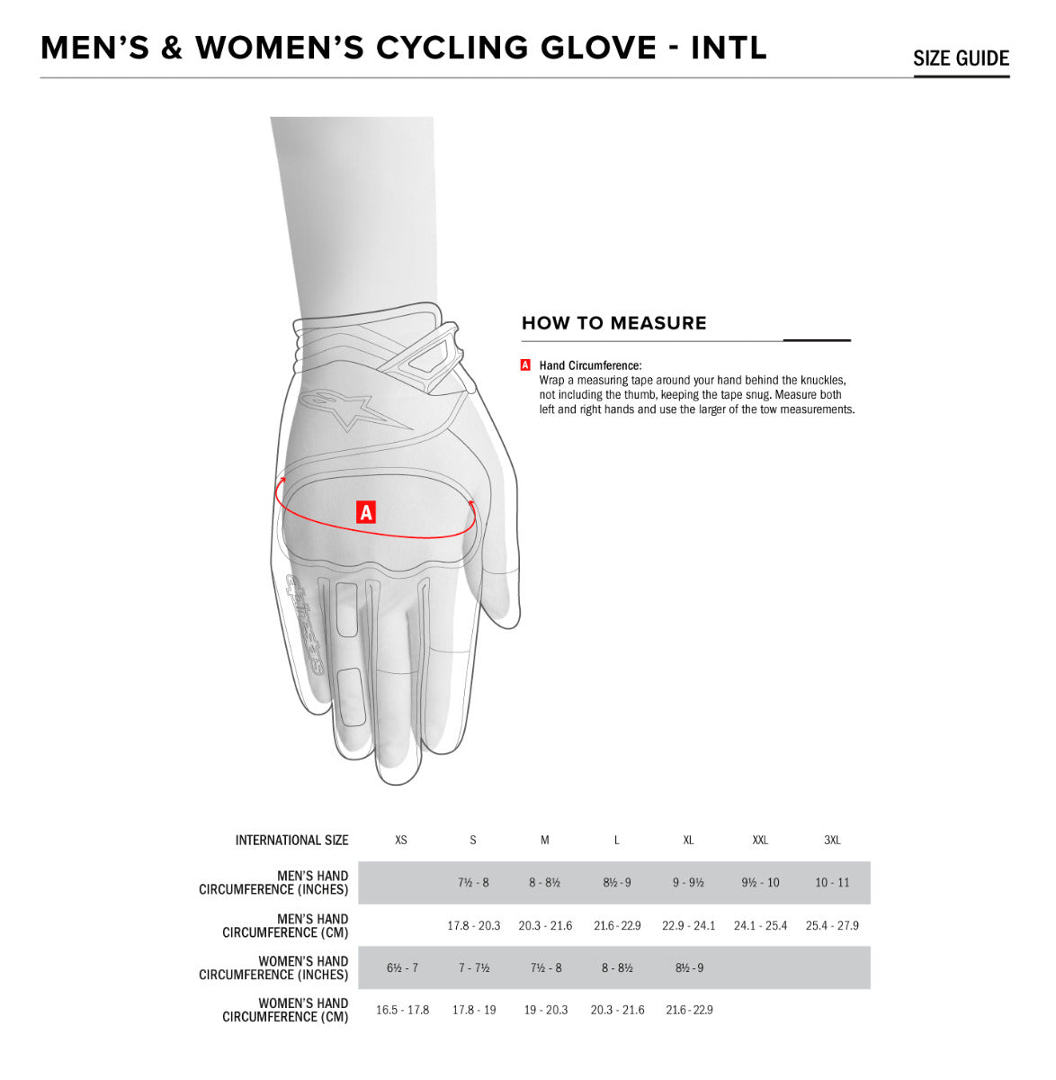 Alpinestars Gloves Size Chart