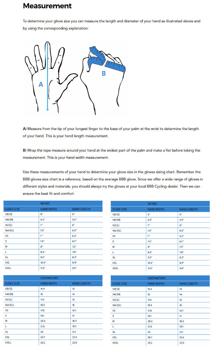 BBB Hand Size Chart