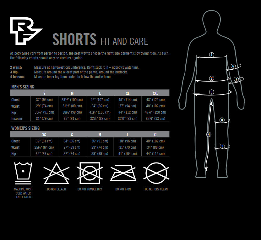RaceFace Shorts Chart