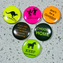 Load image into Gallery viewer, Set of 6 Badge Button (37mm) from the project: MMXX Covid lyf (series 4 HiVis)