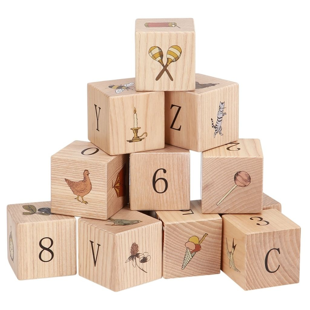 KONGES SLOJD - Wooden cubes Images, numbers and letters.
