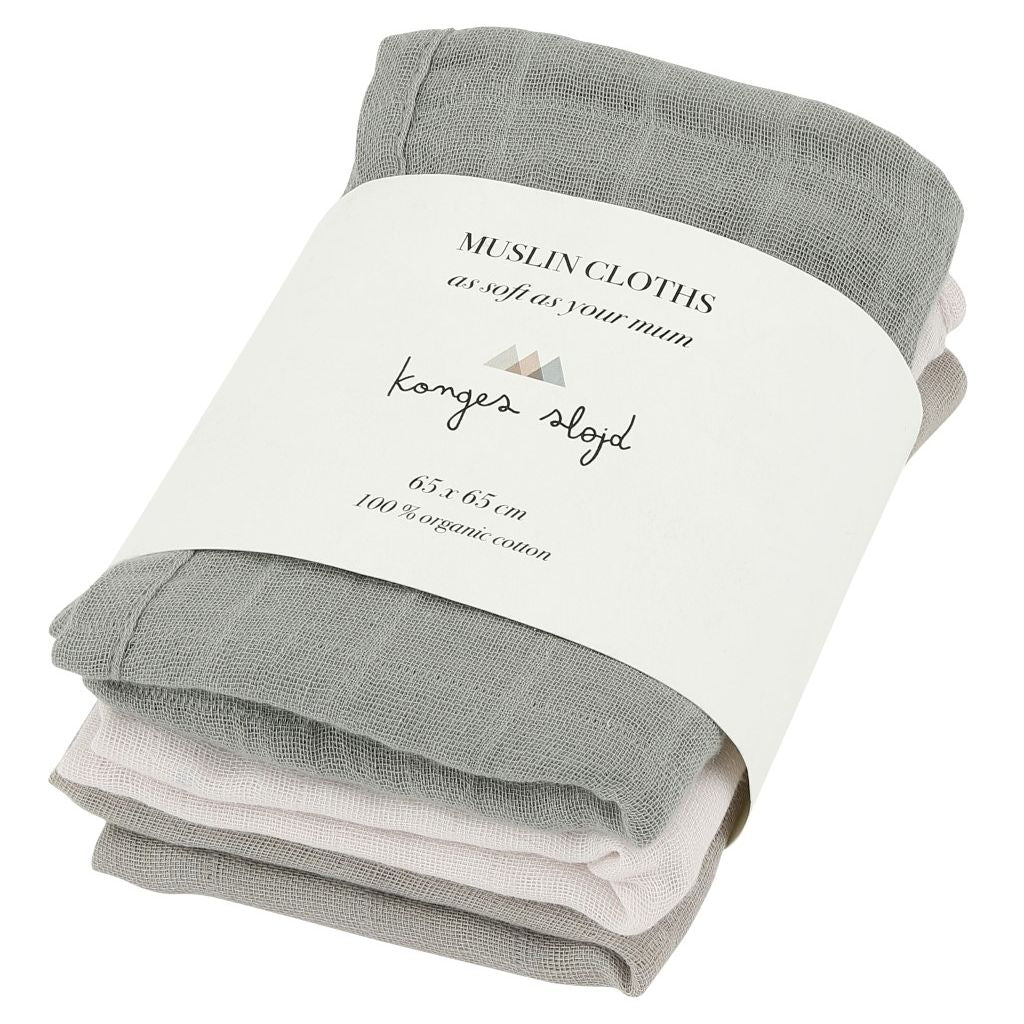 KONGES SLOJD - Set of 3 organic cotton diapers / Lime Stone