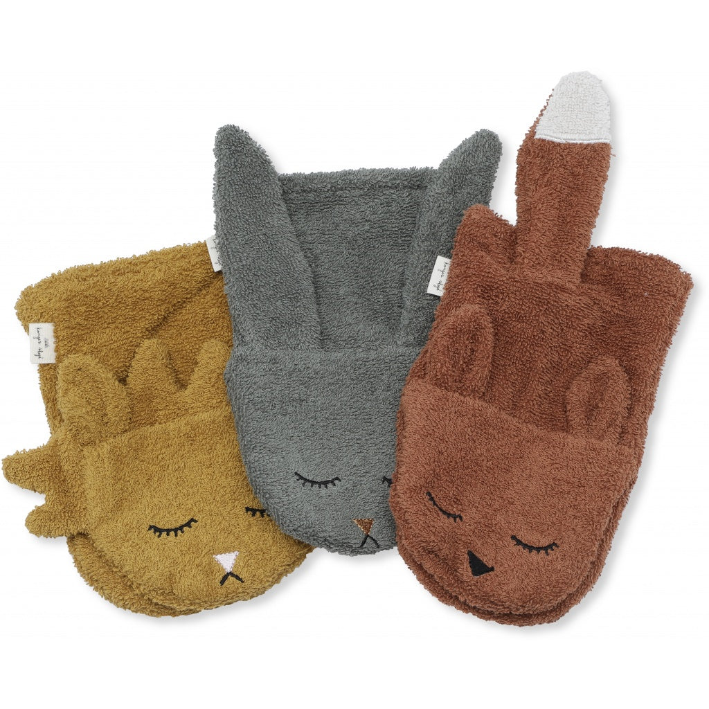 KONGES SLOJD - Set de 3 gants de toilette animaux en coton bio / Set Boy