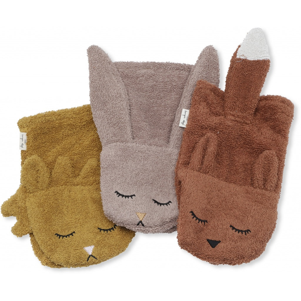 KONGES SLOJD - Set de 3 gants de toilette animaux en coton bio / Set Girl