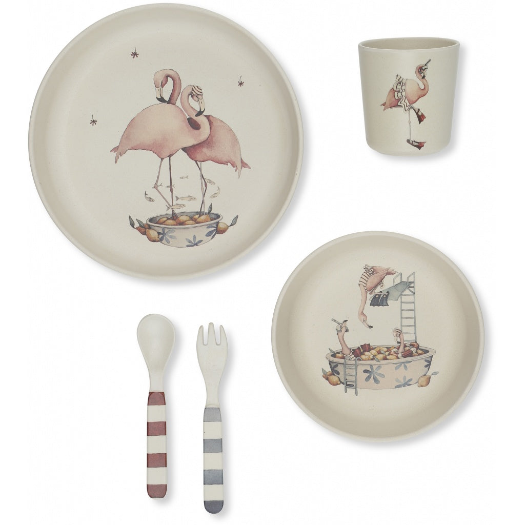 KONGES SLOJD - Set de vaisselle Flamant rose en Bambou naturel
