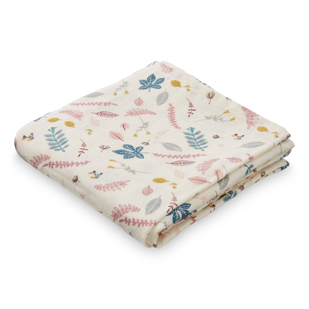 CAM CAM - Set of 2 organic cotton muslin diapers / Pink leaves