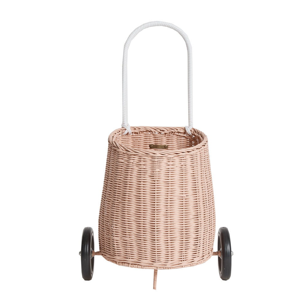 OLLI ELLA - Mini natural wicker basket on wheels / Rose