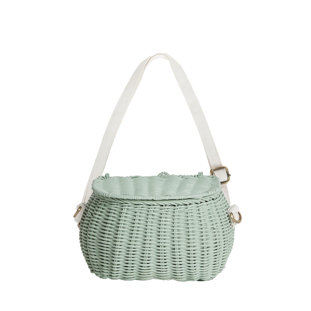 OLLI ELLA-Basket of natural rattan Minichari/Mint