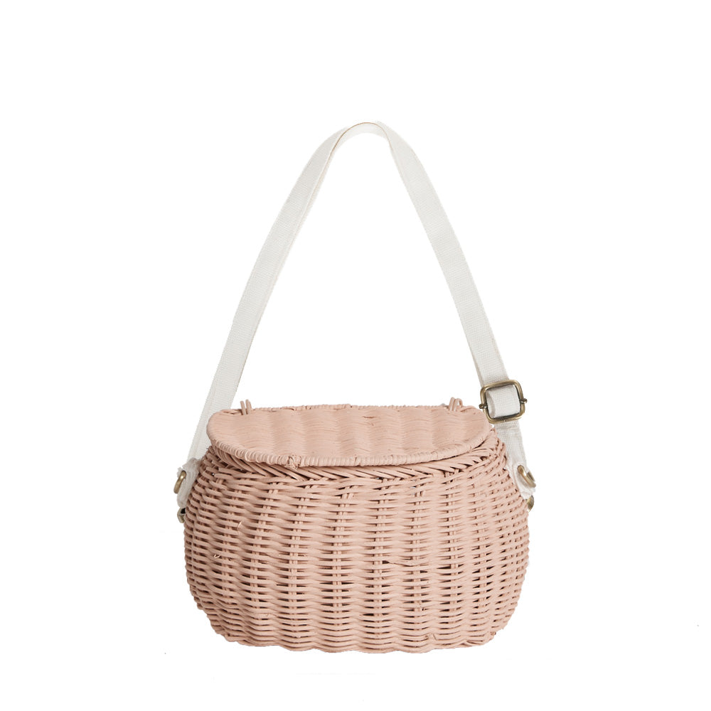 OLLI ELLA-Basket of natural rattan Minichari/Rose