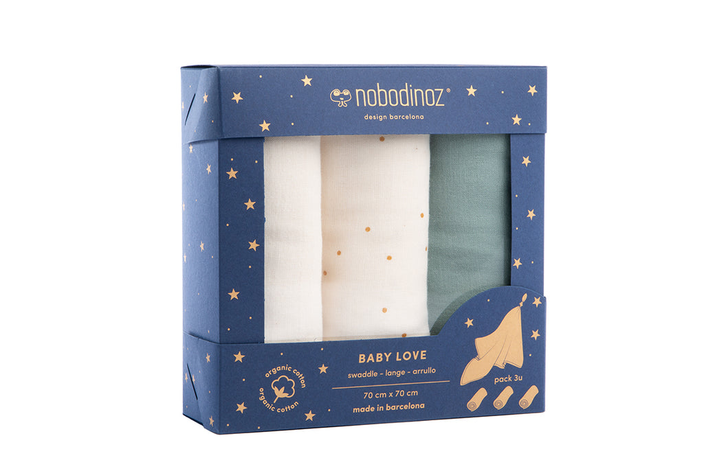 NOBODINOZ - Set de 3 langes Baby love en coton. Pack Eden Green