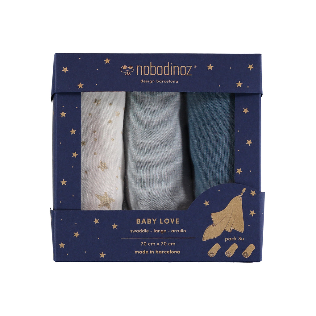 NOBODINOZ - Set of 3 diapers Baby love cotton. Pack Blue