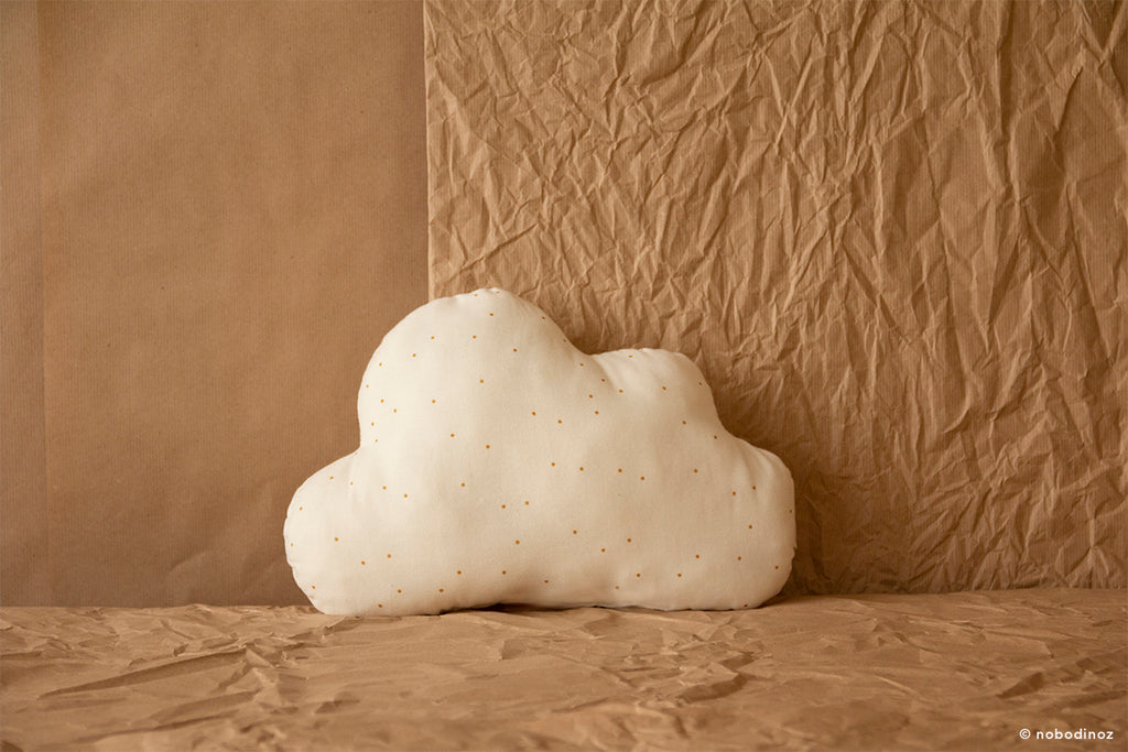 NOBODINOZ : Coussin nuage - Honey Sweet Dots Natural