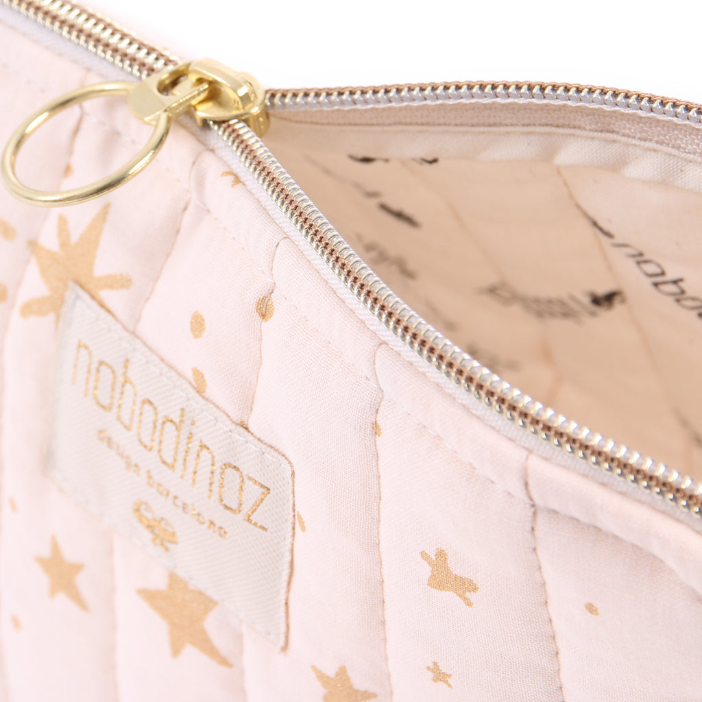 NOBODINOZ - Trousse de toilette Holiday Large Gold Stella / Dream Pink