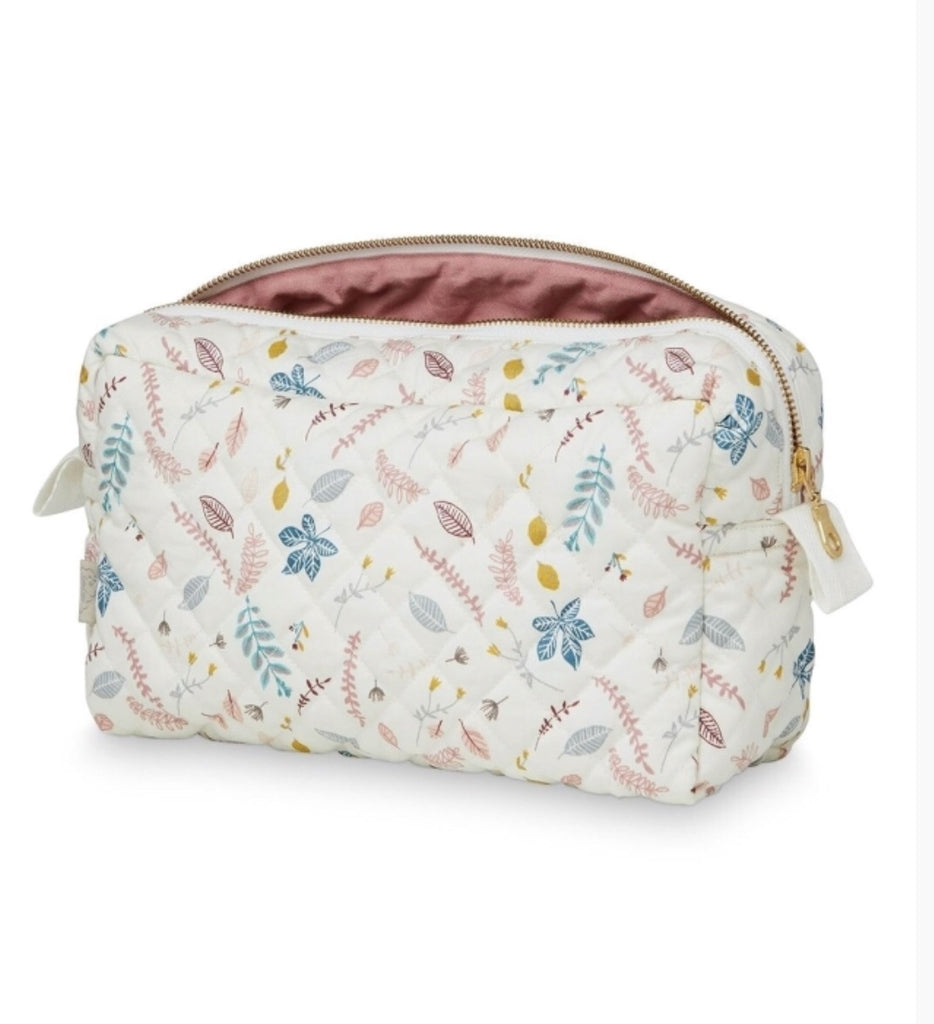 CAM CAM - Organic quilted cotton toiletry kit / Pink leaves