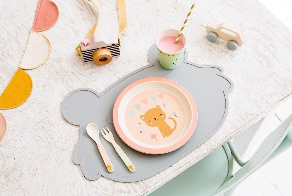 PETIT MONKEY - Set de table Koala en silicone antidérapant / gris