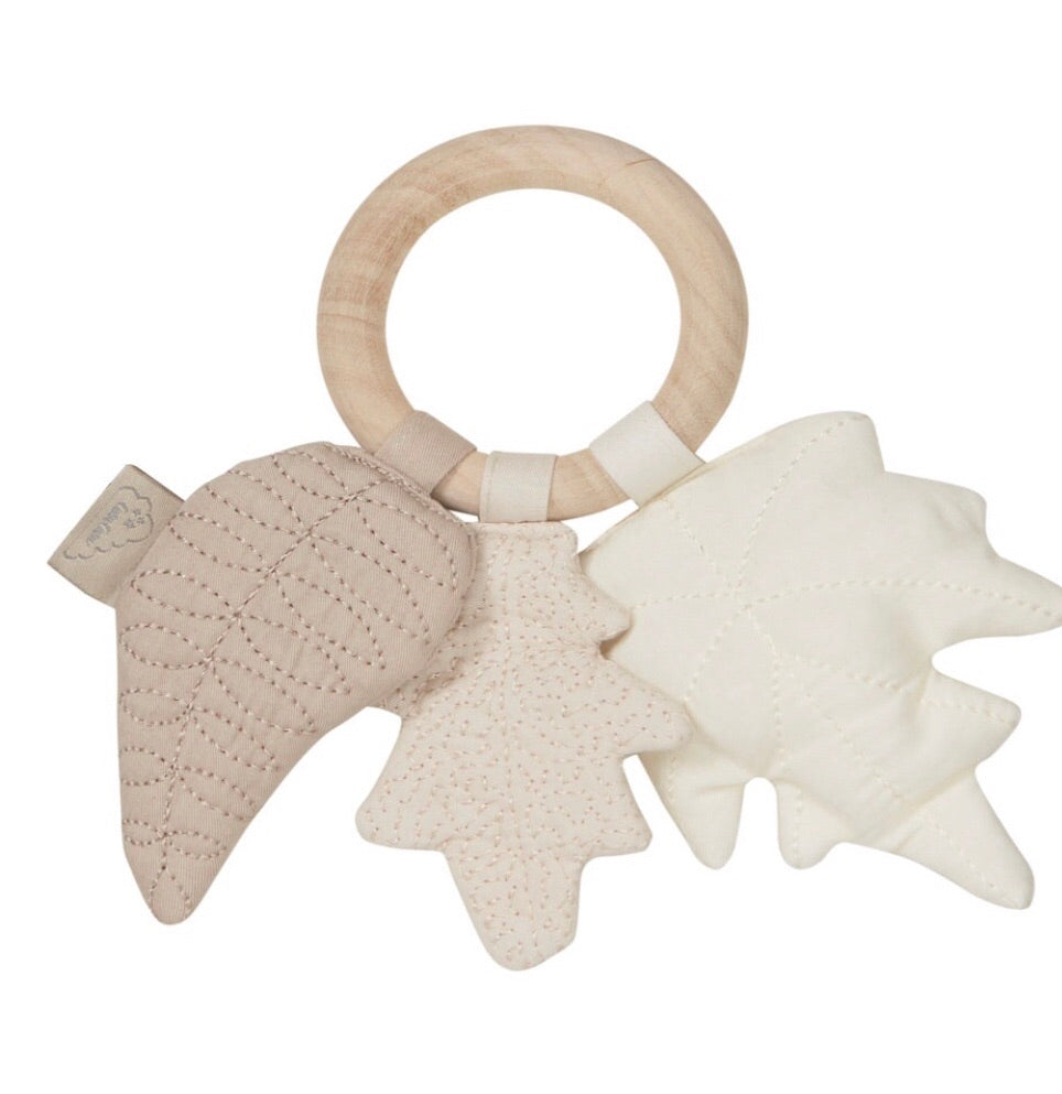 CAM CAM - Wooden rattle and Mix / Natural fabric