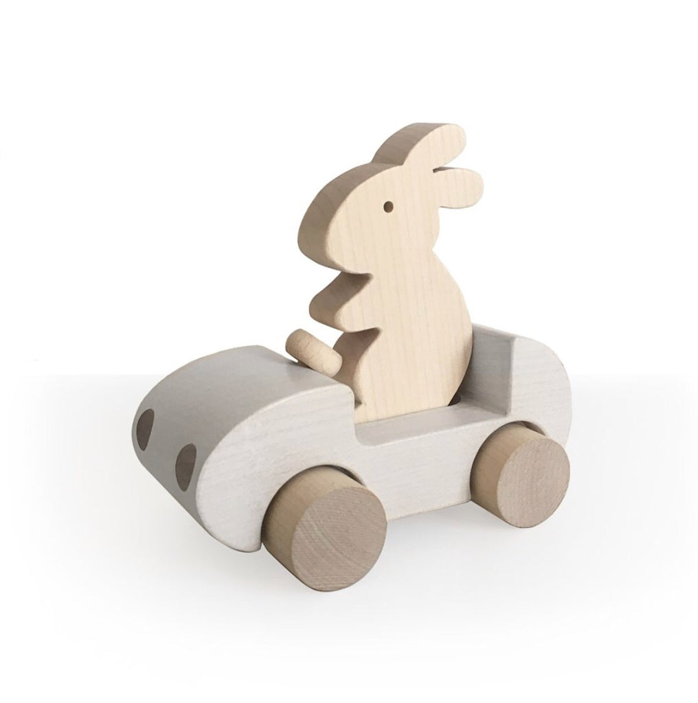 BRIKI VROOM VROOM - Bunny car / Blanc