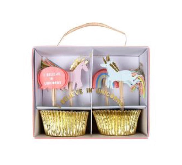 MERI MERI - Rainbow and unicorn cupcake decoration kit - Set of 24