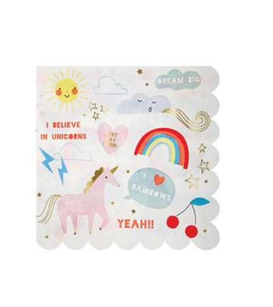 MERI MERI-Serviettes Rainbow and unicorn-Set of 16