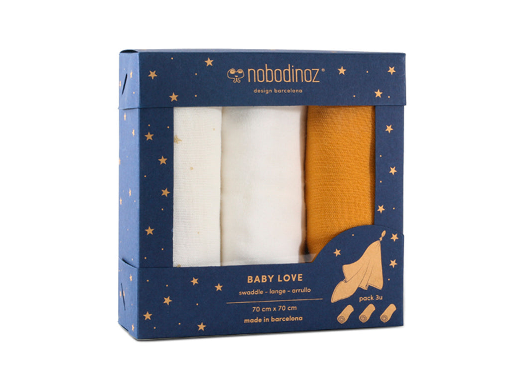 NOBODINOZ - Set de 3 langes Baby love en coton. Pack Yellow