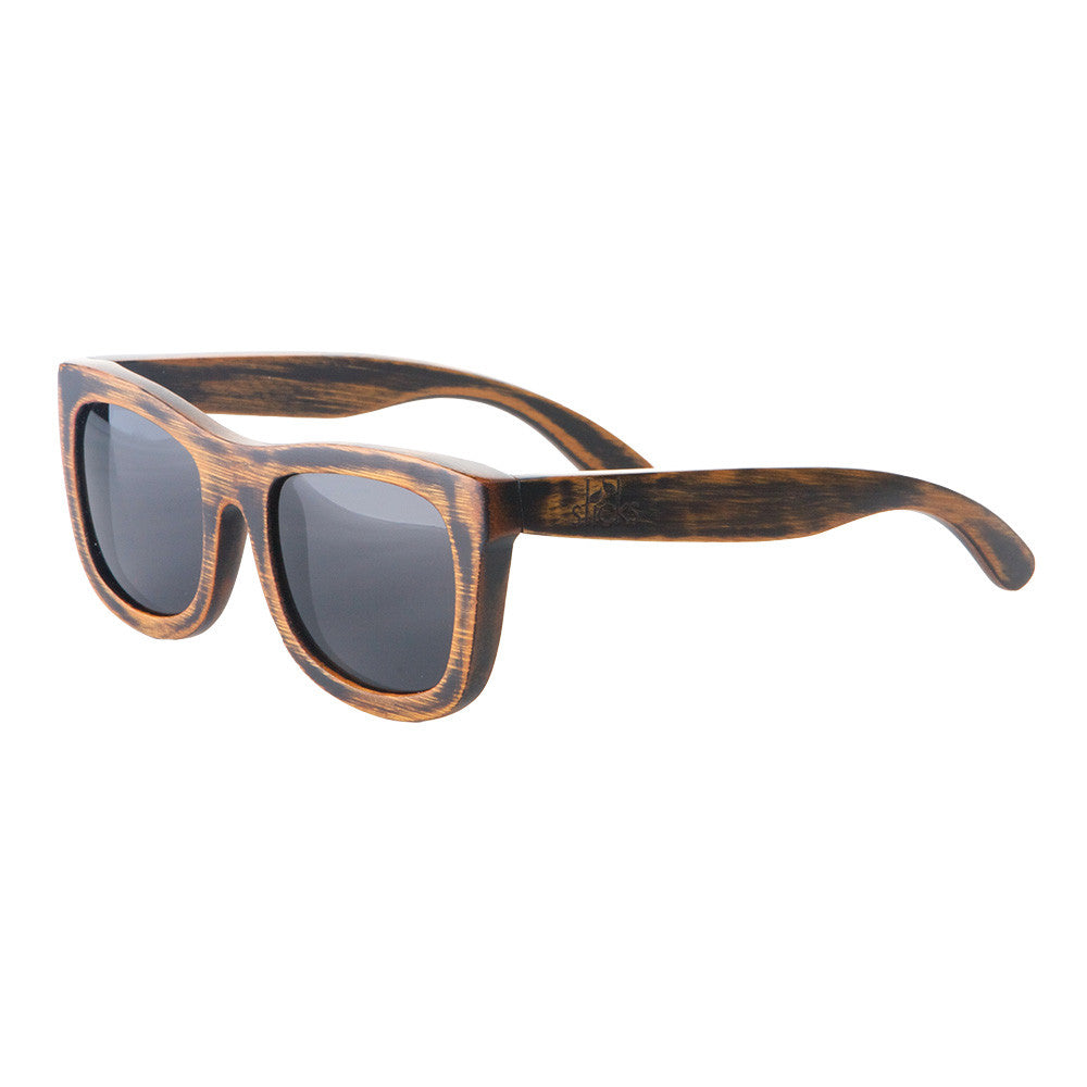 The Fairweather style from Sticks Wooden Sunglasses with smoke lenses