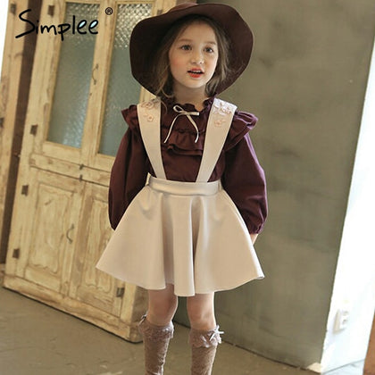 4c55634e54c Simplee Fashion Girls Dress Embroidery Suspender Dress Children Long Sleeve  Kids Shirt Dress 2 PCS (E-PACKET SHIP 15 TO 23 DAYS)