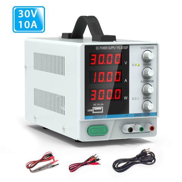 30V/ 10A Bench Power Supply, Variable 4-Digital LED Display Power Supply, Dr.meter