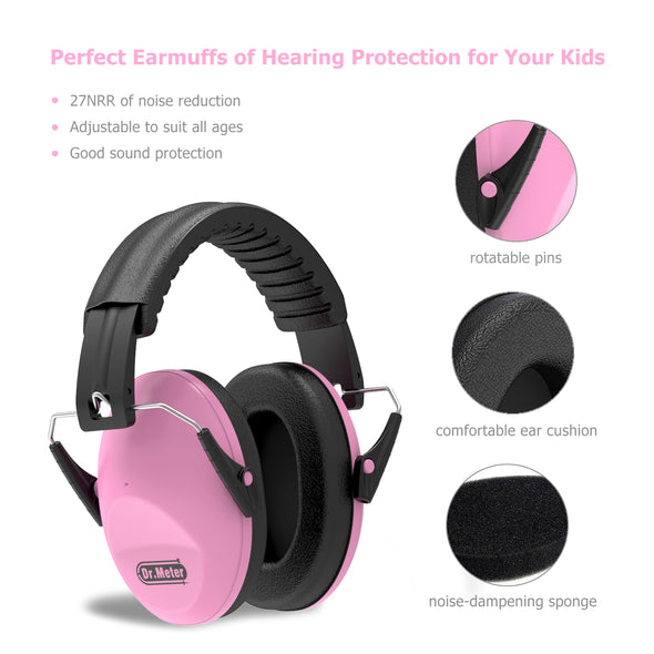 Dr.meter Adjustable Head Band Kids Noise Reduction Earmuffs-Dr.meter
