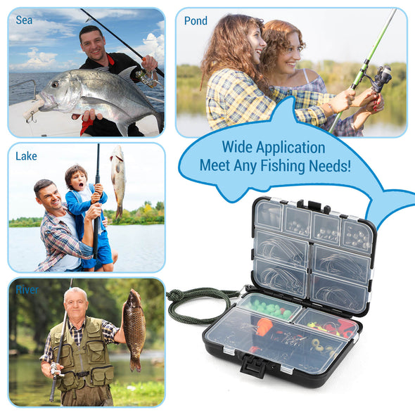 204pcs Fishing Accessories Kit with Tackle Box, Dr.meter