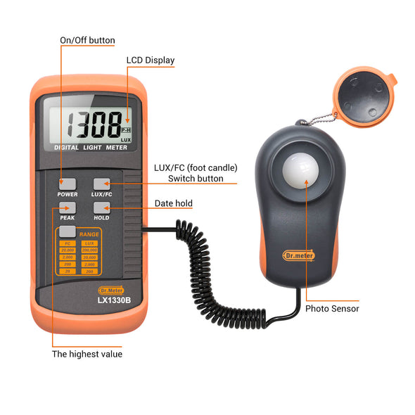 Digital Light Meter, LX1330B, Dr.meter