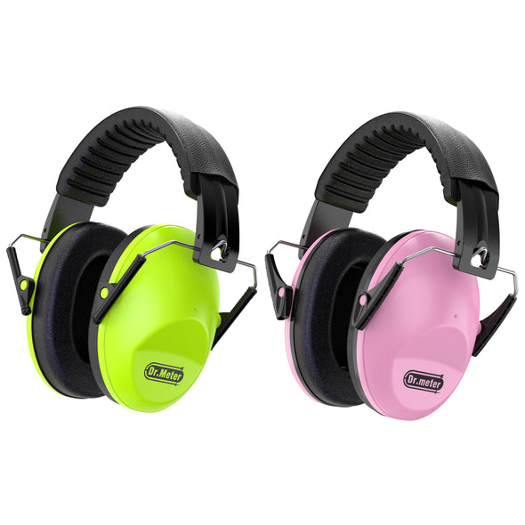Kids Noise-canceling Headphones, 2 Pack, Green & Pink, Dr.meter