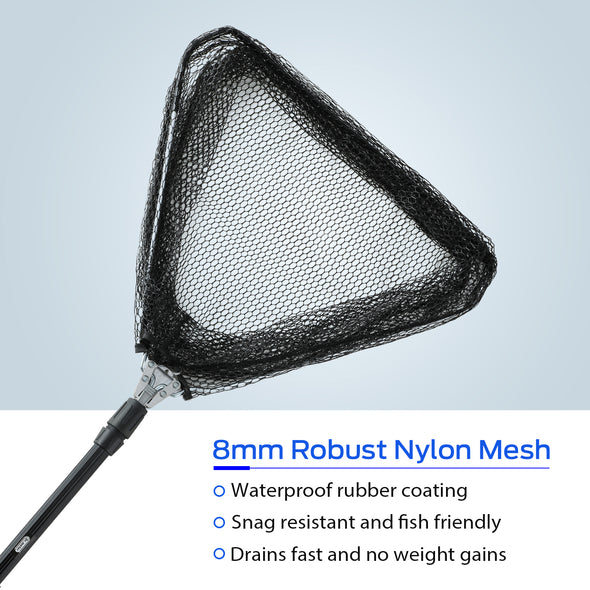 Fishing Net, Light Weight Portable Fish Landing Net with Telescopic Pole Handle