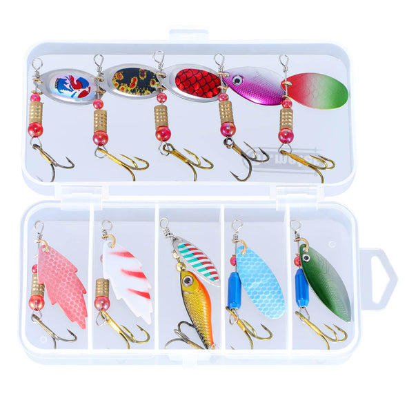Fishing Spinners, 10pcs Fishing Lure Spinner Bait Kits, Drmeter