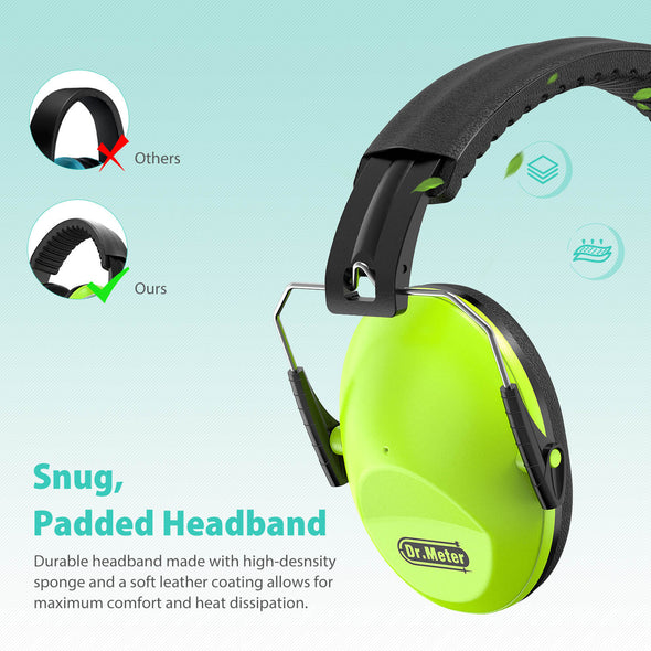 Kids Protective Earmuffs with Noise Blocking, Green, Dr.meter
