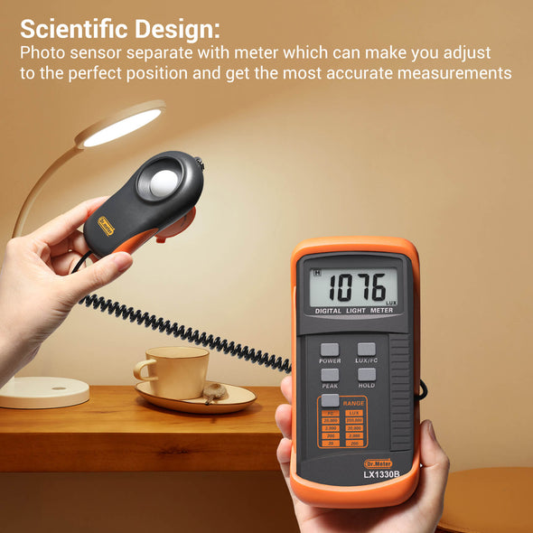 Dr.Meter LX1330B Digital Illuminance/Light Meter, 0 - 200,000 Lux Luxmeter-Dr.meter