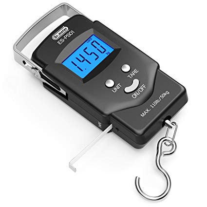 Dr.meter [Backlit LCD Display] PS01 110lb/50kg Digital Fishing Hanging Hook Scale-Dr.meter