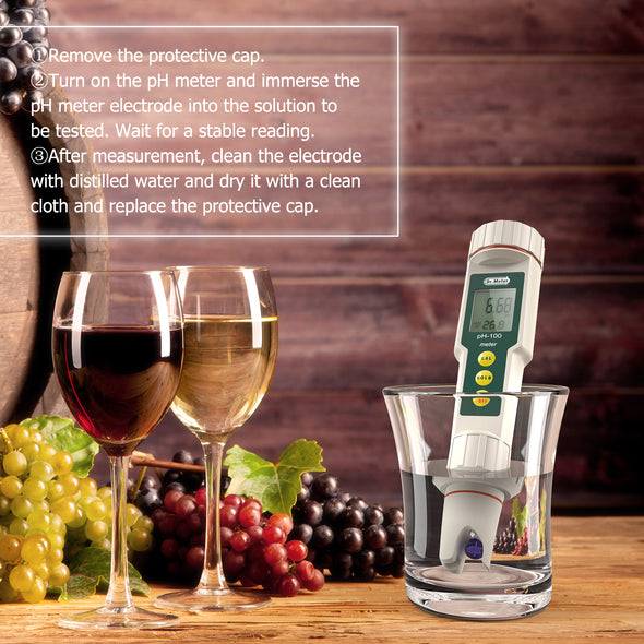 Dr.meter PH100-V 0.01 Resolution High Accuracy Pocket Size pH Meter with ATC-Dr.meter